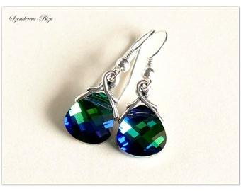 Silver earrings, Swarovski Elements, Flat Briolette 11mm, Bermuda Blue, Sterling silver earrings, Briolette earrings, Bermuda Blue earrings