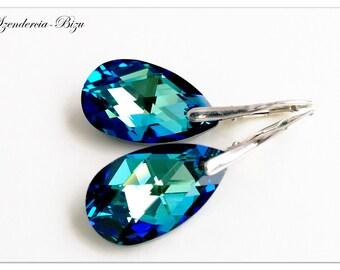 Silver earrings with Swarovski Elements Pear-shaped 22mm Crystal Bermuda Blue