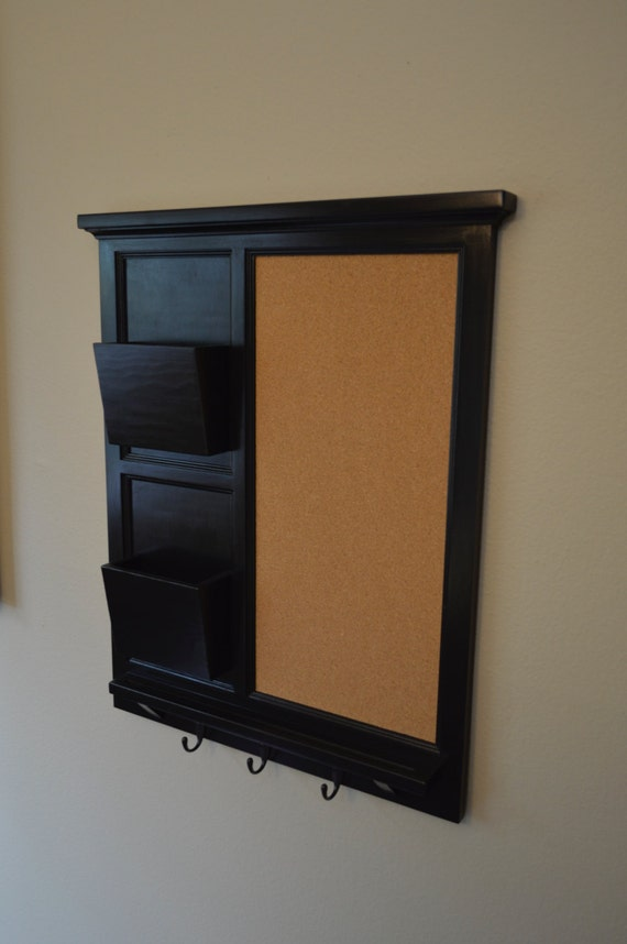 Cork board with two mail organizer letter holder key coat for Cork board organizer