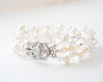 Freshwater Pearl Cuff Bracelet, Crystal Bridal Bracelet, Wedding Bracelet, Bridal Jewelry