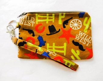 Western Cowboy Zippered Wristlet Purse