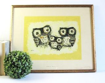 Vintage Framed Owl Art Print - Margaret Layton Owl Print - Owl Family Portrait - Vintage Framed Art - Yellow Wall Decor - Brutalist Art