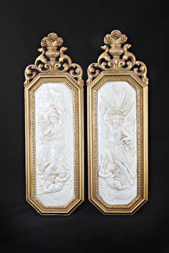 Hollywood regency wall hangings dart inc wall plaque pair for Hollywood regency wall decor
