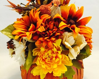 Autumn Arrangement, Autumn Basket, Autumn Decor, Fall Arrangement, Fall Basket, Fall Decor, Bird in Basket Decor, Home Decor, Thanksgiving
