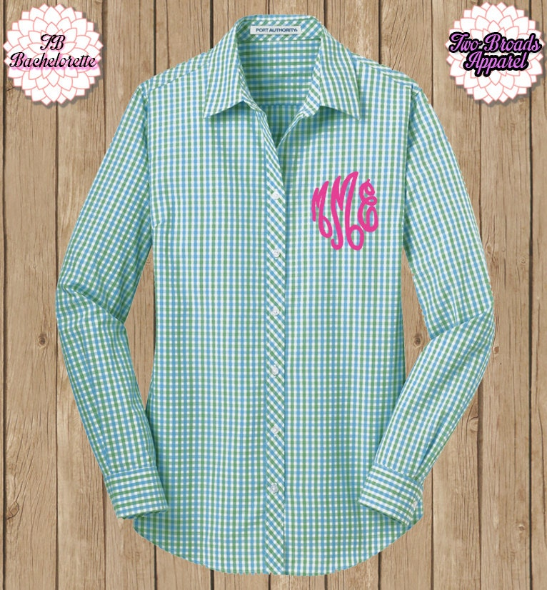 monogrammed button up shirt ladies buttonup plaid button up