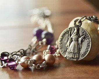 Catholic Jewelry - Saint Gertrude Religious Catholic Necklace, Confirmation Saint Necklace, Catholic Religious Jewelry, Catholic gift