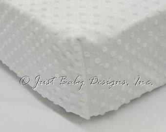Fitted Crib Sheet - Minky Dot White