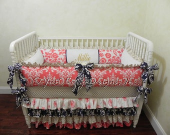 Custom Baby Bedding Set Mercedes -  Girl Crib Bedding, Coral Baby Bedding, Navy and Coral with Gold Dots