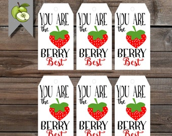 Thank you gift, Strawberry tag, You are the berry best tag, Teacher gift, end of year tag, fruit gift, Teacher gift tag, gift tag, Printable