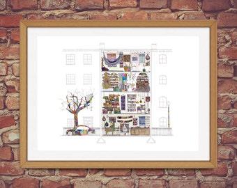 Yarnbomber's House - Narrative Architectural Illustration