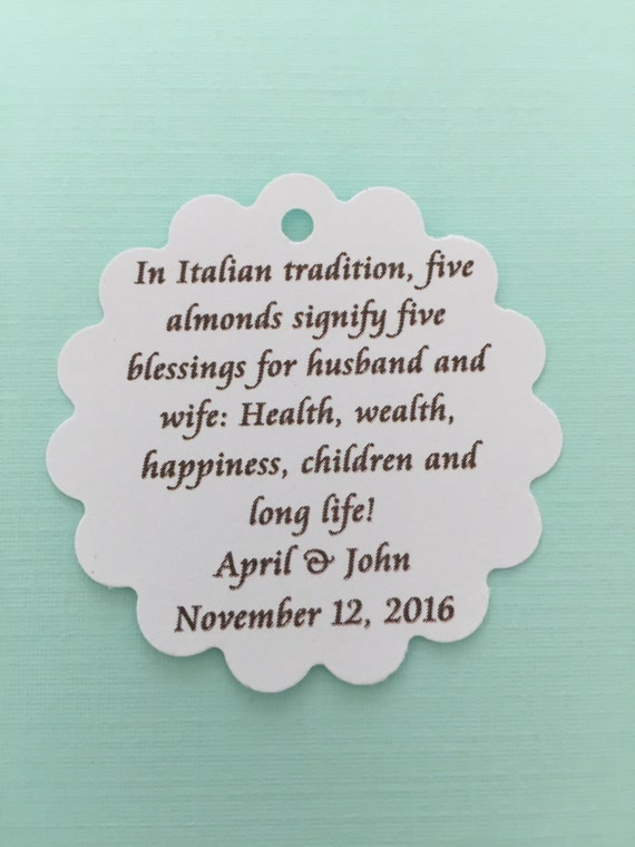 Italian Jordan Almond Poem Tag For Wedding Favors