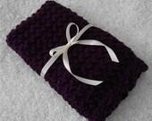 SALE Purple Baby Blanket Crochet Knit Dark Purple Newborn Girl Blanket Photo Prop Baby Blanket Gift for Baby Shower Gift Idea Eco-Friendly V