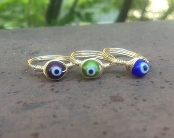 Evil eye dainty ring / made to order