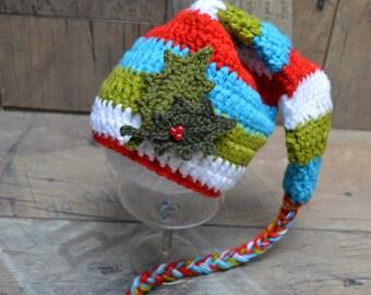 Christmas Elf Hat, Newborn Christmas Baby Hat, newborn Elf Hat, Baby Christmas Hat, Crochet Christmas Baby Hat, Photo prop