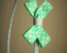 grey and mint green polka dot bow metal headband