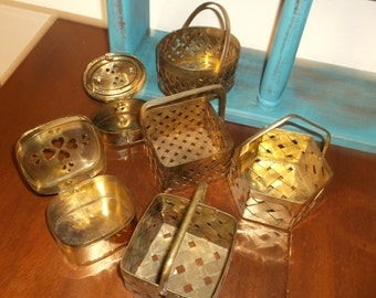 Collection of  Six Brass Boxes Vintage Brass Boxes/Baskets