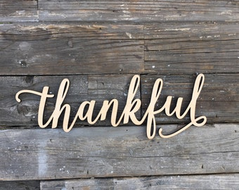 "SALE! thankful wood laser cut sign 14"" inch, Wooden Sign calligraphy entry way mud room thanksgiving home wall decor give thanks inspiration"
