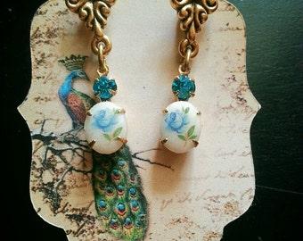 Astrid, Baroque Style 22K Matte Gold 1950's Vintage Rose Earrings