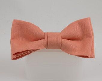 Clip on Bow Tie Light Orange Linen Handmade from Vintage Fabric Bowtie Clip Bow tie Orange Sherbet colored bowtie
