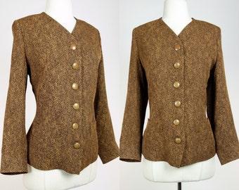 Yves Saint Laurent blazer, 80s brown wool button up jacket, designer vintage, Large YSL