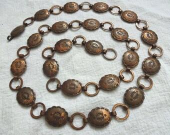 Old HARVEY Era Vintage NAVAJO Hand Stamped COPPER Concho Link Belt or Hatband