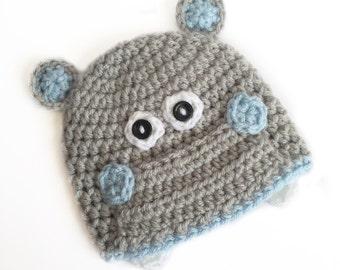 Crochet Hippo Hat, Hippo Photoprop, Baby Hippo, Newborn Photoprop