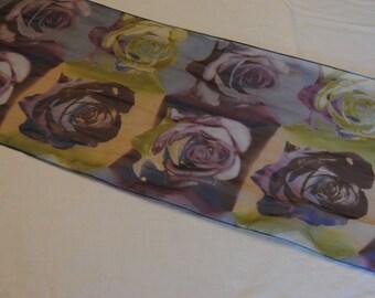 Vintage Scarf Purple Roses