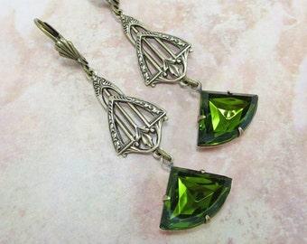 Art Deco Earrings Vintage Glass Olivine Green Ear Dangles