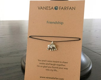 Friendship Necklace, Elephant Choker, Silver, for Kids, Girls and Women, Adjustable, in 16 Colors