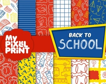 School - Red Blue Yellow - Student Paint Supplies Bus Sports Elementary Graduation - Digital Scrapbooking Paper Pack - My Pixel Print