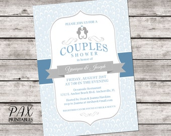 Printable Seahorse Couples Shower Invitation - Beach Couples Shower, Bridal Shower, Wedding Shower, Lingerie Shower