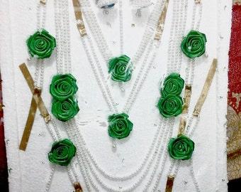 Indian jewelry set,mehendi hena jewelry set, Indian Bollywood wedding haldi jewelry set, pearl and satin flower jewelry set, jumka, tika