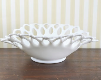 Vintage Milkglass Fruit Basket
