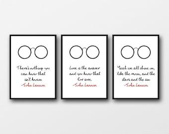 Set of 3 Unframed John Lennon Lyrics