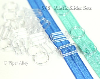 "Headband Slider Sets, 5/8"" Clear Plastic Sliders, Bra Slides, DIY Adjustable FOE Hardware, Elastic Headband Supplies, O Ring  Figure 8"