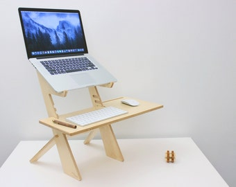 Alto  Standing Desk, Birch, Made in the USA, Macbook, Laptop stand
