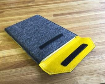 iPad Mini Case / iPad Mini Sleeve / iPad Mini Cover - Mottled Dark Grey Outer and Choice of Inner Colour - 100% Wool Felt