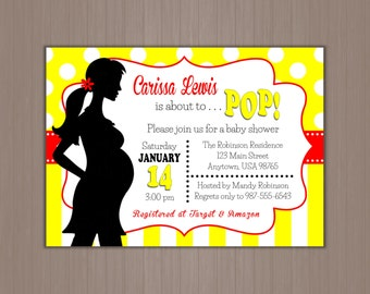 She's ABOUT TO POP Baby Shower Invitation 5x7 - Digital Invitations or Printed by us!  Neutral, Red and Yellow, Pregnant Silhouette