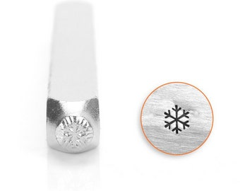 Dainty 3mm snowflake metal stamp for jewelry making