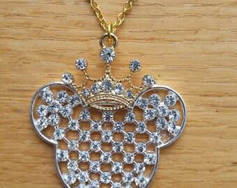 Disney Mickey Mouse Minnie Mouse Necklace Rhinestone Sparkle princess crown