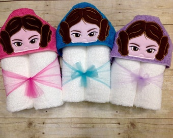 Princess Leia Hooded Towel/ Leia Costume/ Star Wars Girls/ Star Wars Princess Leia/ Princess Leia Baby/ Princess Leia Birthday