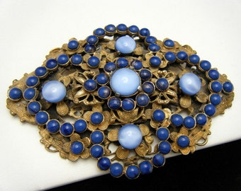 Fabulous Vintage Sash Pin Blue Satin & Lapis Glass Cabochons in Brass