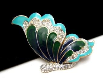 Vintage Panetta Butterfly Brooch Pin Pave Rhinestones Enamel Green Aqua