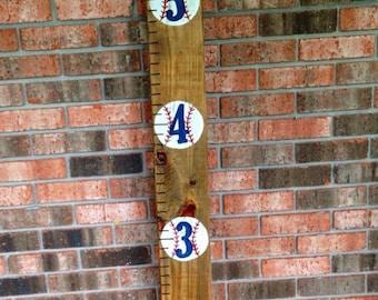 Wooden baseball growth chart