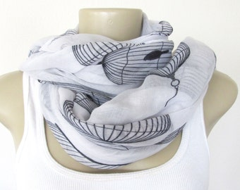 Birdcage Scarves White and Black Fashion Scarf