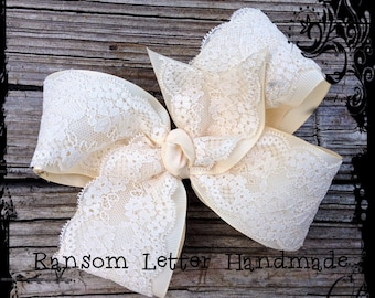 Ivory White Hair Bow Princess Wedding Party Outfit Flower girl Ivory Lace Trim Grosgrain Ribbon Large Bows Girls Dress