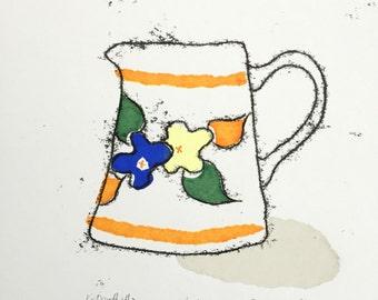 Vintage jug in Orange - Hand Printed, original screenprint and monoprint