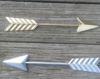 Arrow wall decor, horizontal  hanging arrow, silver arrow, gold arrow, dorm room decor, wall decor