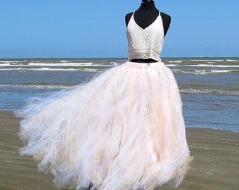 Boho Tulle Skirt - full length tutu style skirt perfect for boho wedding, or beach wedding.  A blend of peach and ivory tulle.
