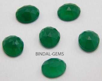 15 Pieces Wholesale Lot Green Onyx Oval Shape Rose Cut Loose Gemstone For Jewelry